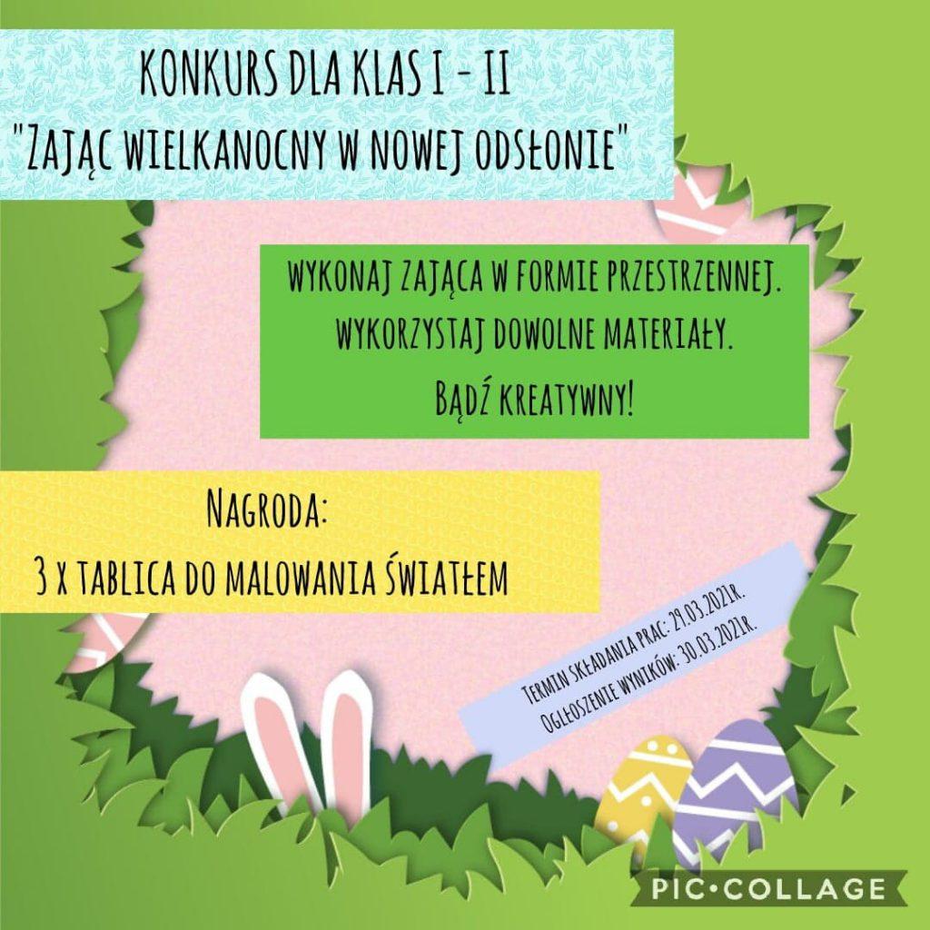 """""""Zając Wielkanocny w nowej odsłonie"""" – konkurs świąteczny dla klas I – II"""