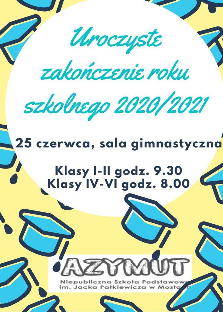 Zakończenie roku szkolnego 2020/2021 – informacja